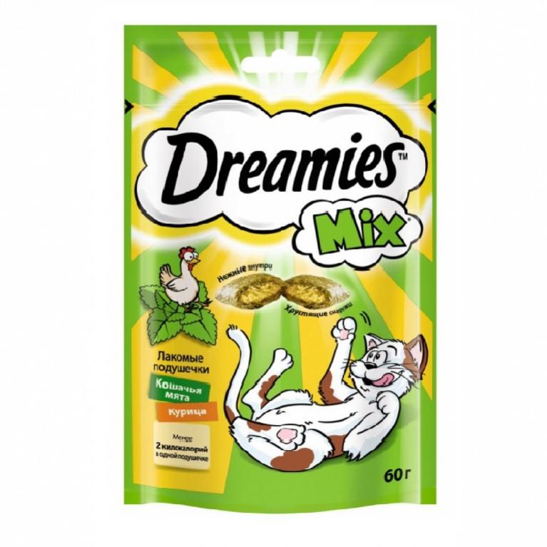 Dreamies Mix Лакомые подушечки для кошек  с курицей и кошачьей мятой, 60г
