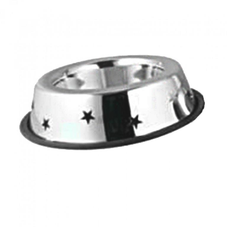 Миска Аnkur из нержавеющей стали на резинке с широким ободком и вырезами в форме звезд