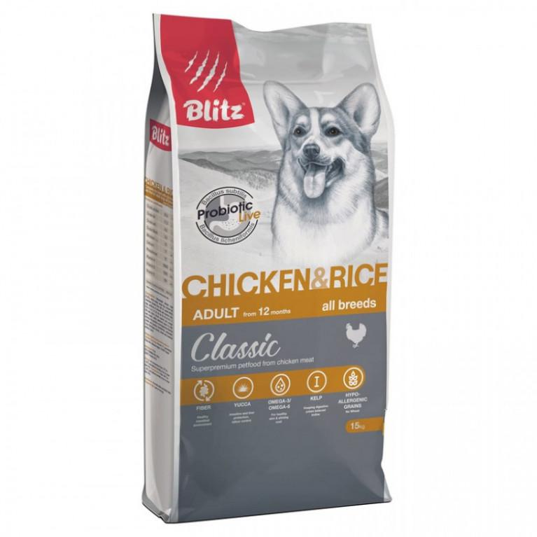 Blitz Classic Chicken & Rice Adult Dog All Breeds Сухой корм для собак всех пород с курицей и рисом