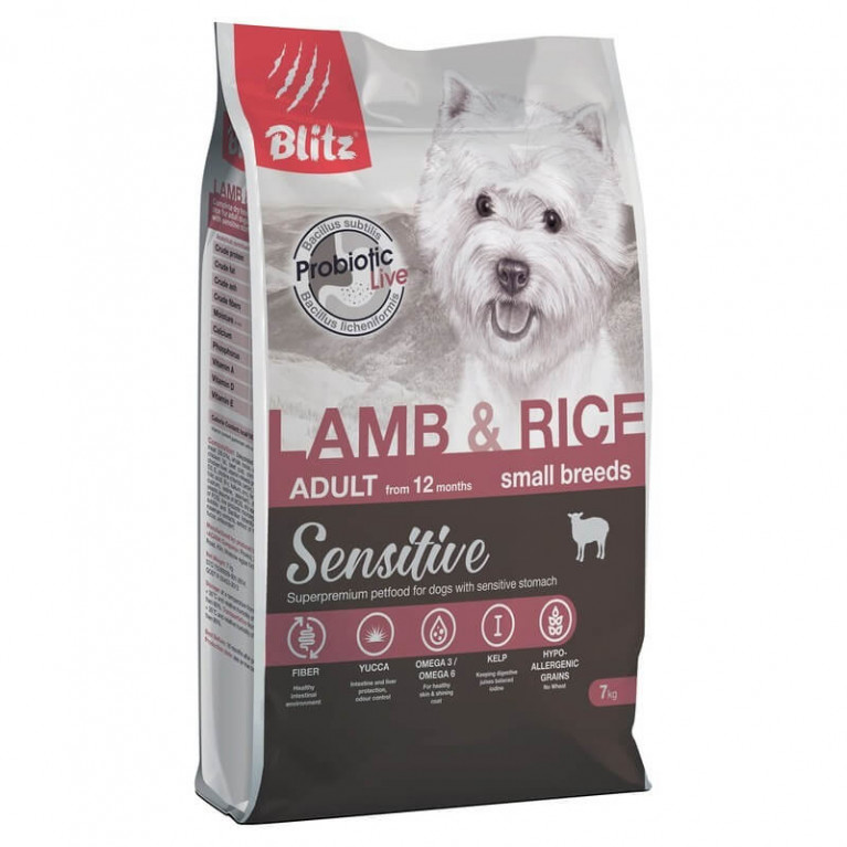 Blitz Sensitive Lamb & Rice Adult Dog Small Breeds Сухой корм для мелких пород собак с ягненком и рисом