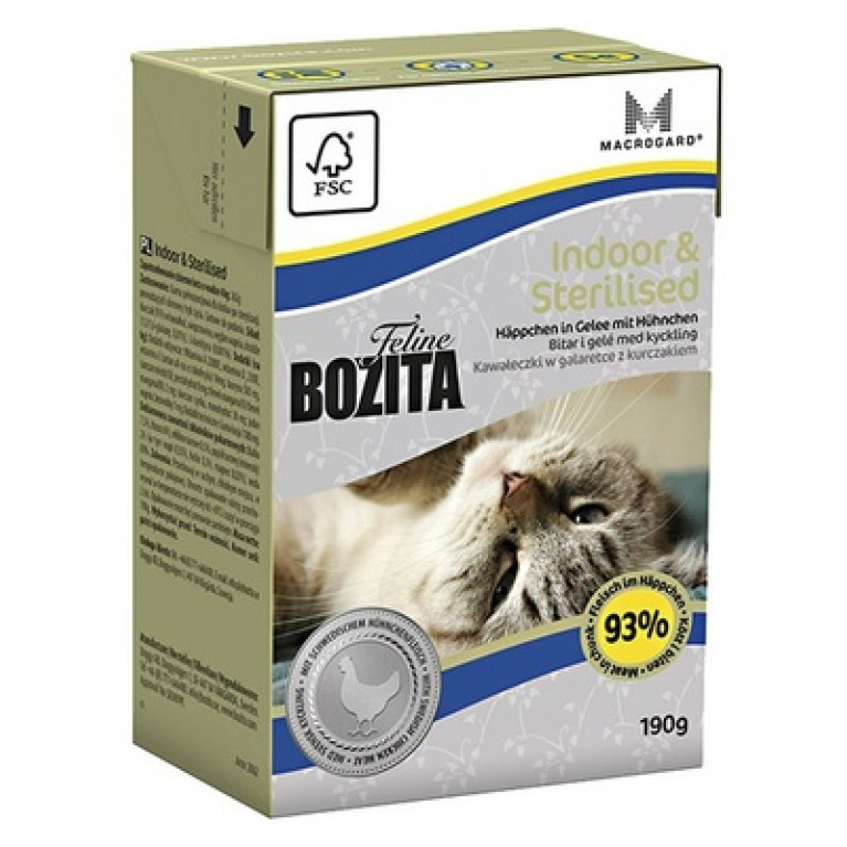Bozita Indoor&Sterilised Кусочки в желе для домашних и стерилизованных кошек с курицей 190г