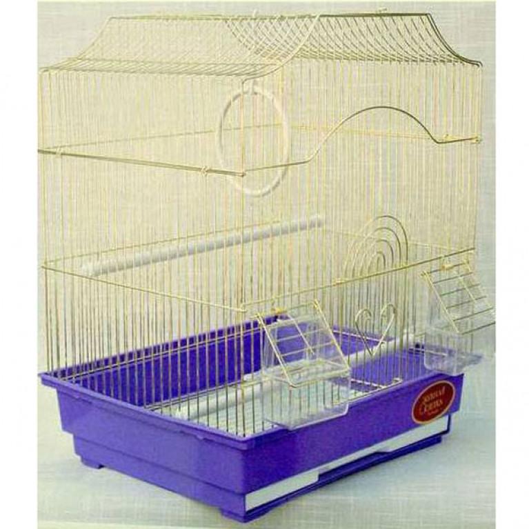 Золотая Клетка для птиц средняя с фигурной крышей золото 35х28х43