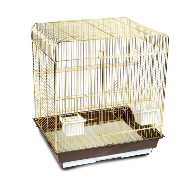Золотая Клетка для птиц Средняя Квадратная крыша Золото Дверь-в-Дверь