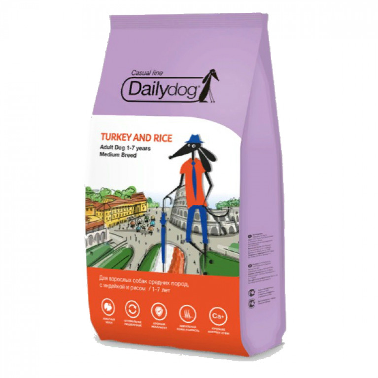 Dailydog Casual line Adult Medium Turkey and Rice  Корм премиум класса собак средних пород, с индейкой и рисом 20 кг