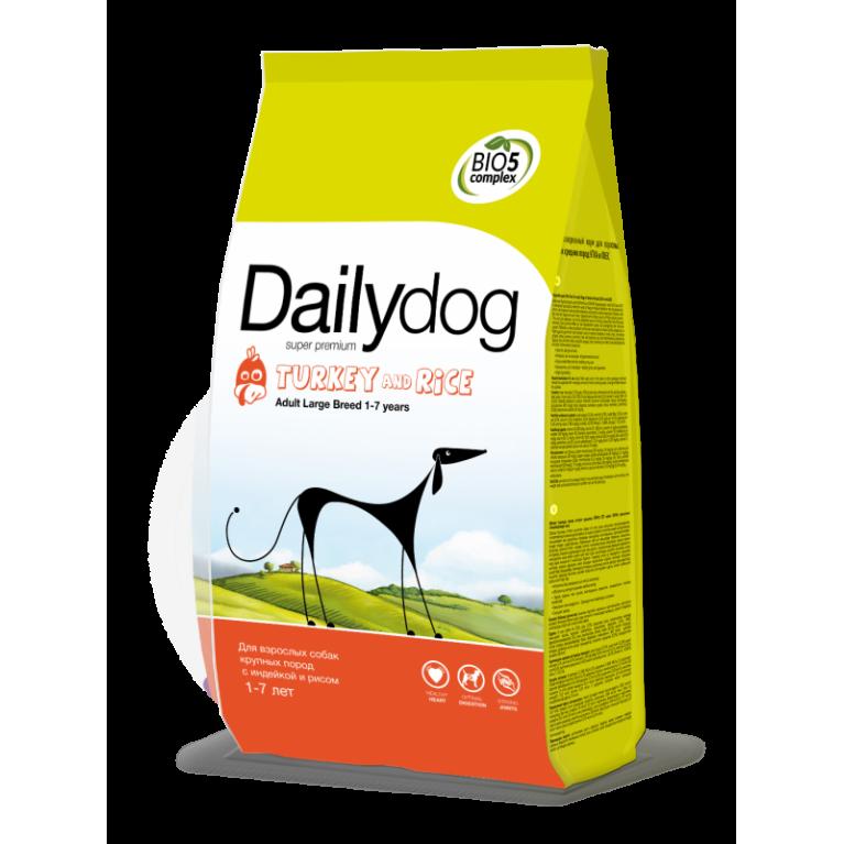 Dailydog ADULT LARGE BREED Turkey & Rice Сухой корм для взрослых собак крупных пород индейка рис