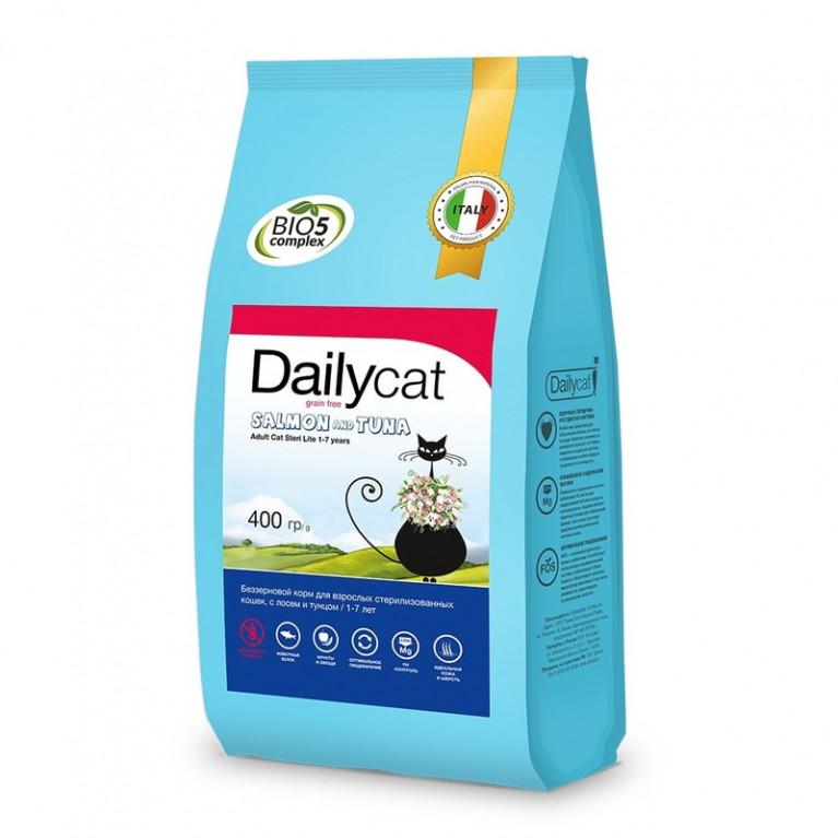 Dailycat Grain free line Steri Light Salmon and Tuna\ Беззерновой корм для взрослых стерилизованных кошек с Лососем и Тунцом