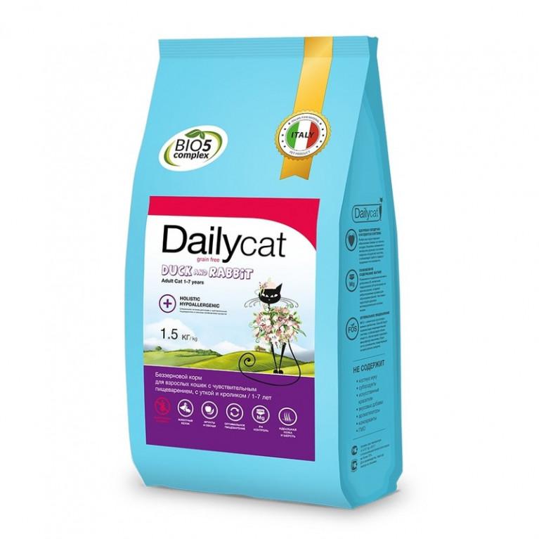 DailyCat ADULT Grain Free Duck and Rabbit  Беззерновой корм для взрослых кошек с чувствительным пищеварением с Уткой и Кроликом