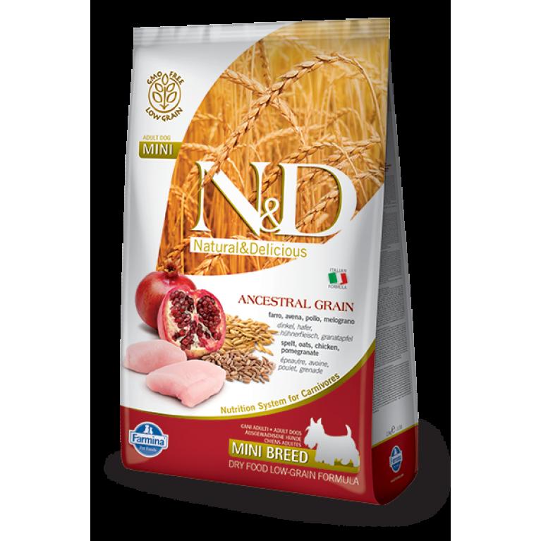 Farmina N&D Ancestral Grain Chicken & Pomegranate Adult Mini / Низкозерновой корм для собак мелких и карликовых пород (Спельта, овес, курица, гранат)