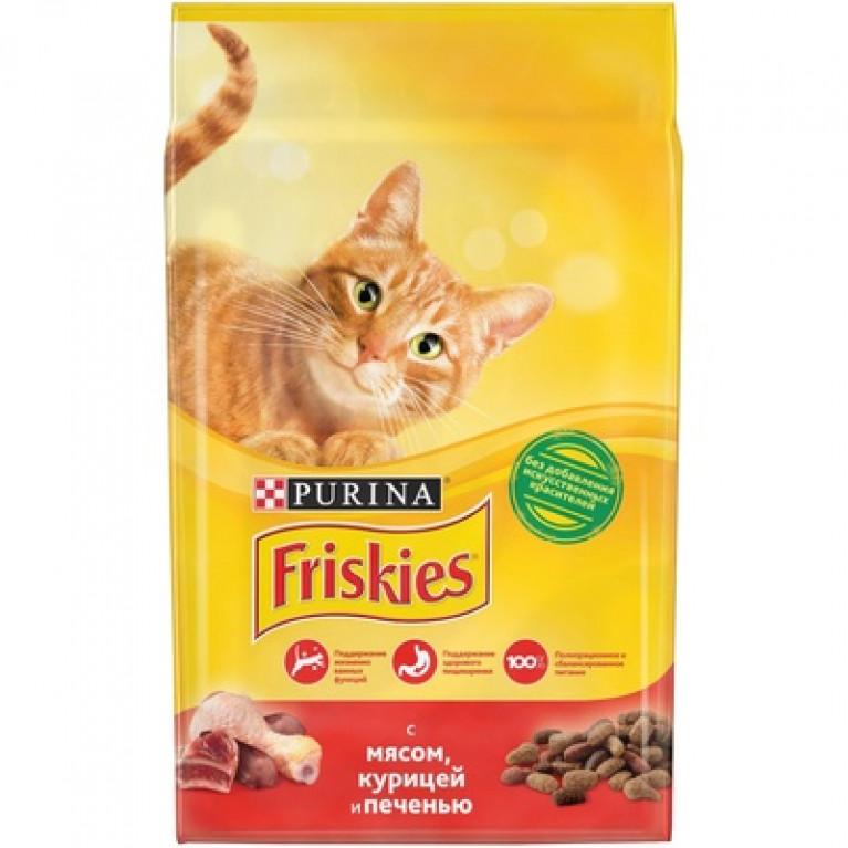 Friskies Adult Корм Friskies для взрослых кошек, с мясом, курицей и печенью