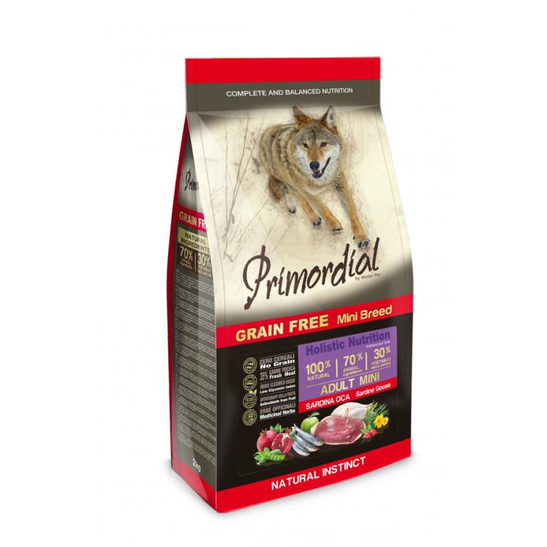 Primordial Dog Adult Mini Беззерновой корм-холистик для взрослых собак мелких пород (Сардина, гусь)