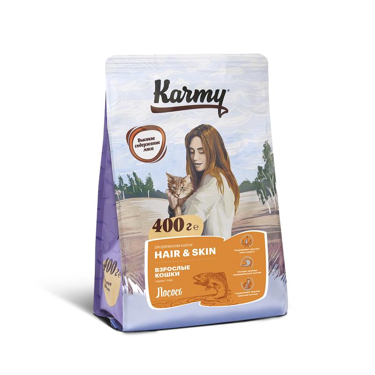 KARMY HAIR & SKIN корм для взрослых кошек старше 1 года, поддерживающий здоровье кожи и шерсти (Лосось)