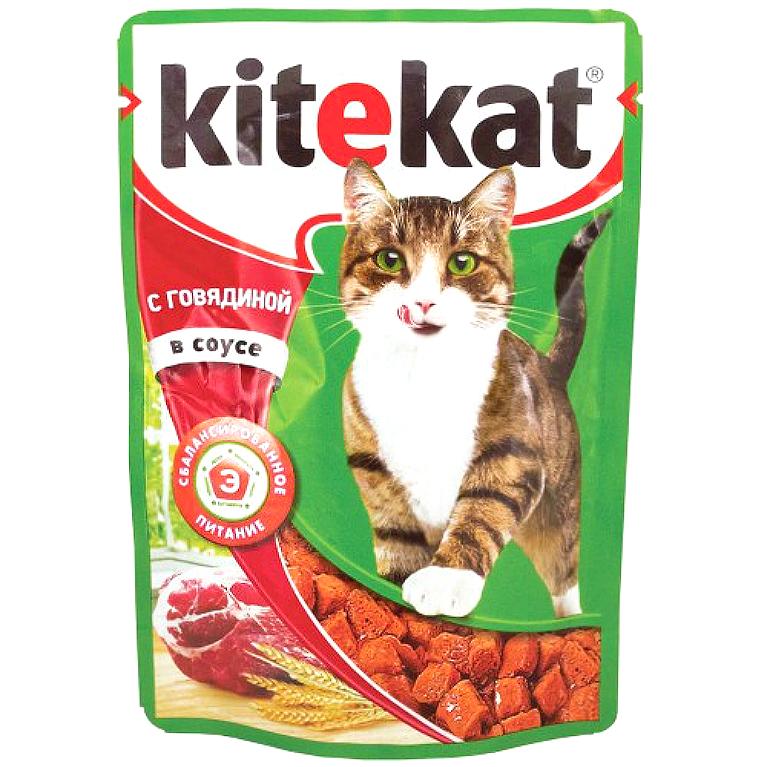 Kitekat Корм для кошек (Говядина в соусе) 85г, 5 шт