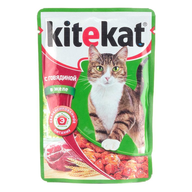 Kitekat Корм для кошек (Говядина в желе) 85г, 5 шт