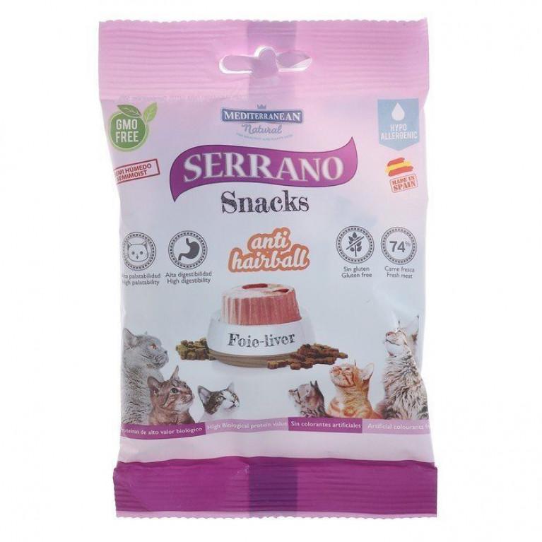 Serrano Snacks лакомство для кошек снеки для выведения шерсти, печень 50 гр.