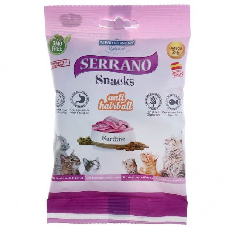 Serrano Snacks лакомство для кошек снеки для выведения шерсти, сардина 50 гр.