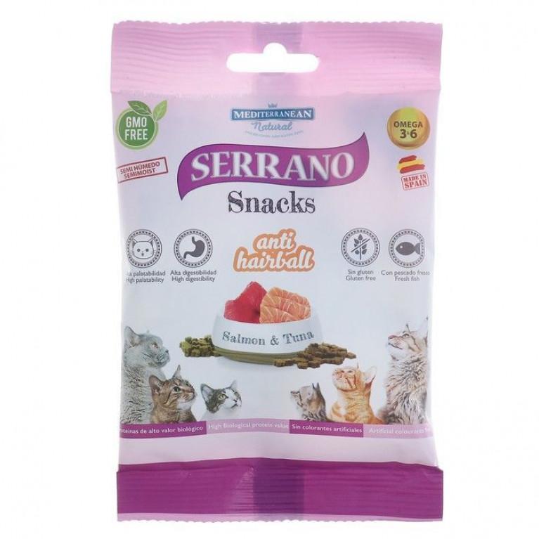 Serrano Snacks лакомство для кошек снеки для выведения шерсти, лосось и тунец 50 гр.