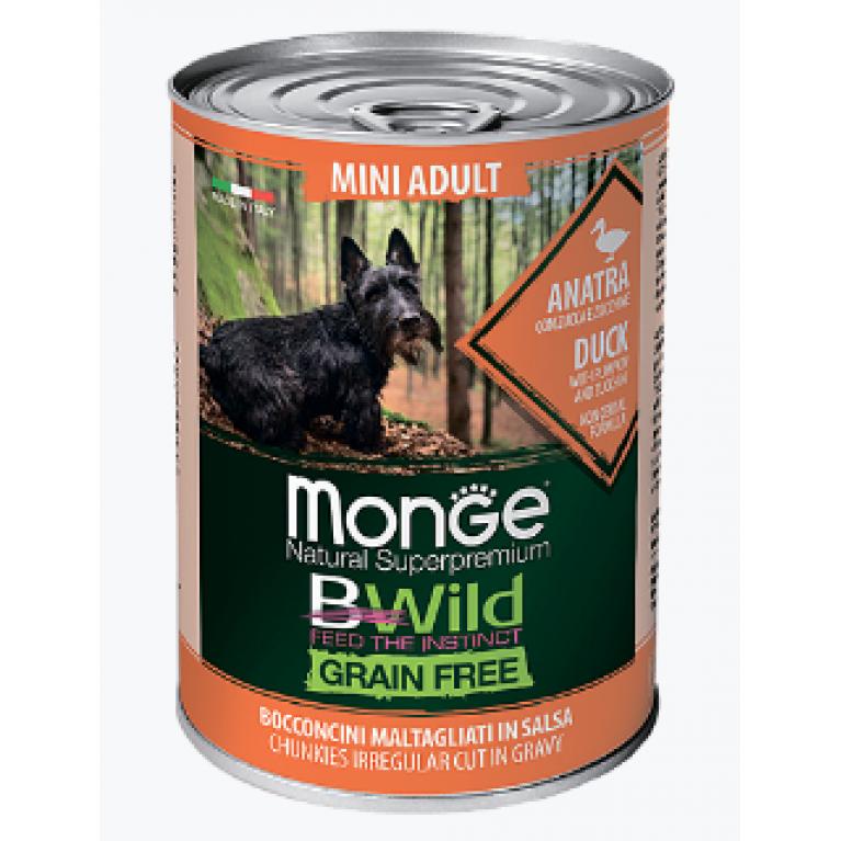 Monge Dog BWild GRAIN FREE Mini беззерновые консервы для взрослых собак мелких пород из утки с тыквой и кабачками  400г