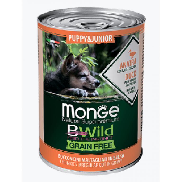 Monge Dog BWild GRAIN FREE Puppy&Junior беззерновые консервы для щенков всех пород из утки с тыквой и кабачками  400г