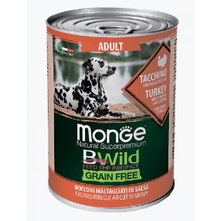 Monge Dog BWild GRAIN FREE беззерновые консервы для взрослых собак всех пород из индейки с тыквой и кабачками  400г