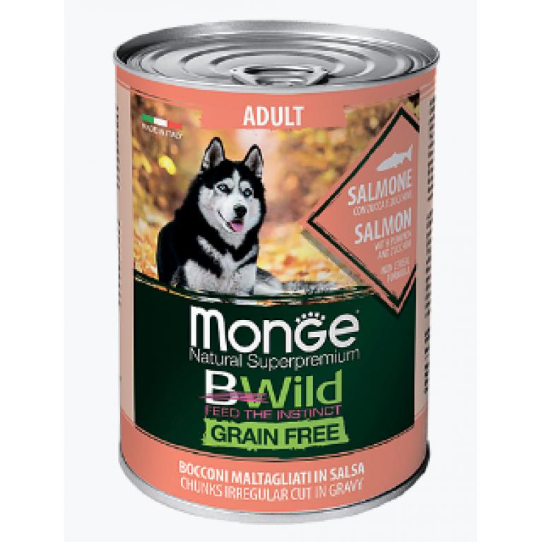 Monge Dog BWild GRAIN FREE беззерновые консервы для взрослых собак всех пород из лосося с тыквой и кабачками  400г