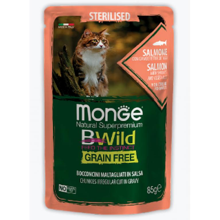 Monge Cat BWild GRAIN FREE паучи для стерилизованных кошек из лосося с креветками и овощами  85г, 5 шт