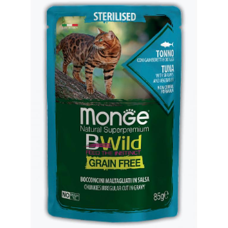 Monge Cat BWild GRAIN FREE паучи для стерилизованных кошек из тунца с креветками и овощами 85г, 5 шт