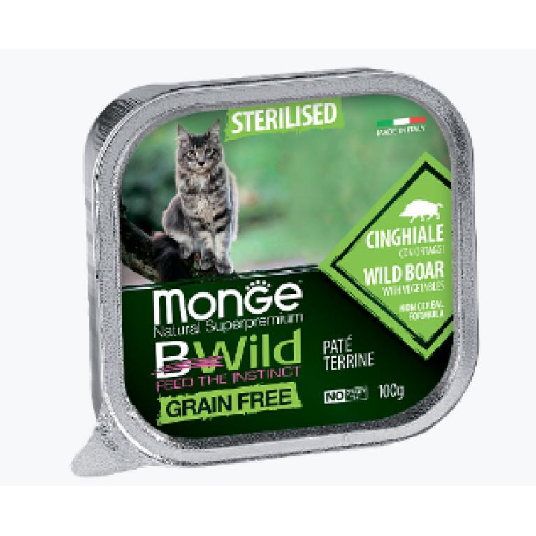 Monge Cat BWild GRAIN FREE беззерновые консервы  для стерилизованных кошек из кабана с овощами 100г