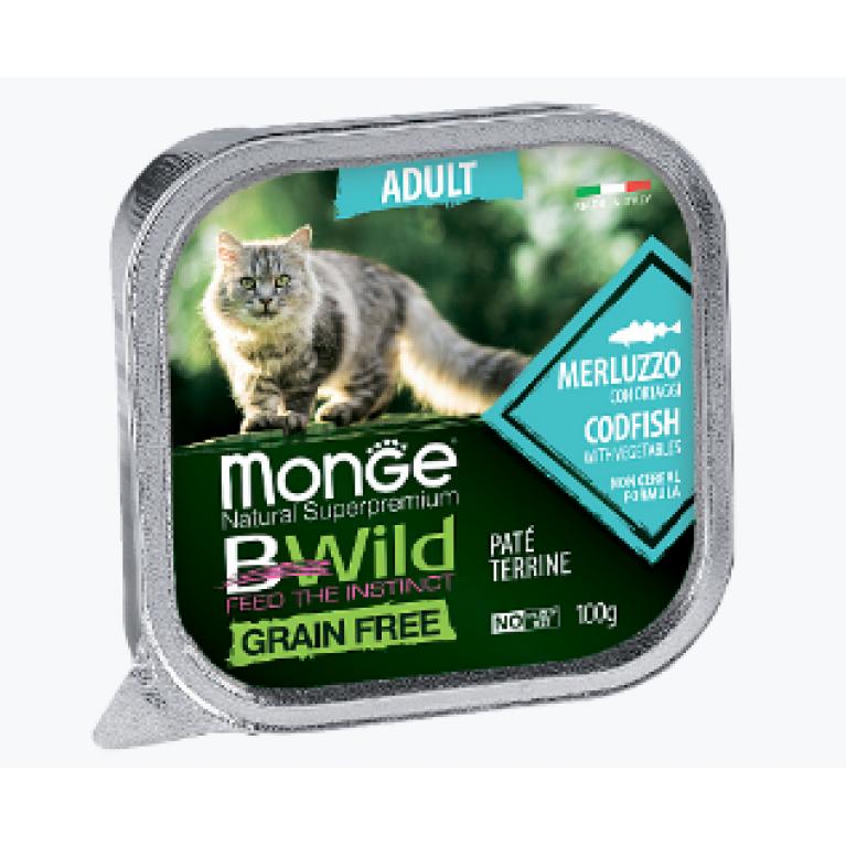 Monge Cat BWild GRAIN FREE беззерновые консервы для взрослых кошек из трески с овощами  100г