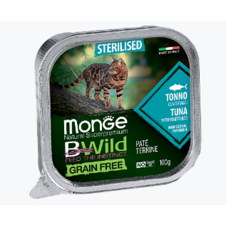 Monge Cat BWild GRAIN FREE беззерновые консервы для стерилизованных кошек  из тунца с овощами 100г,