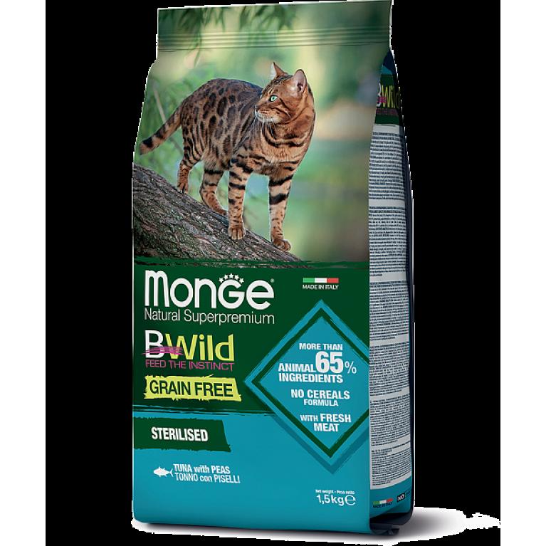 Monge Cat BWild GRAIN FREE беззерновой корм для стерилизованных кошек из тунца 1,5 кг