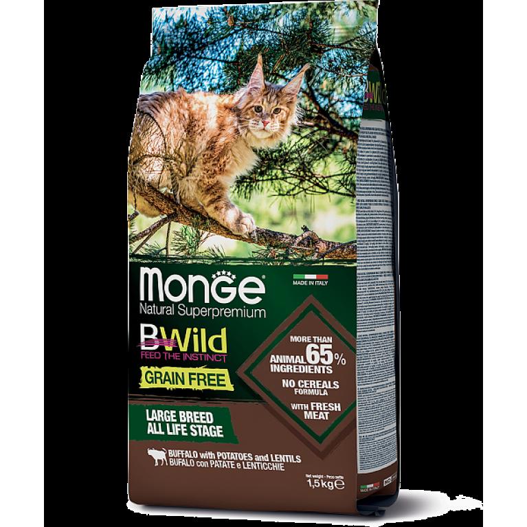 Monge Cat BWild GRAIN FREE беззерновой корм для крупных кошек всех возрастов из мяса буйвола 1,5 кг