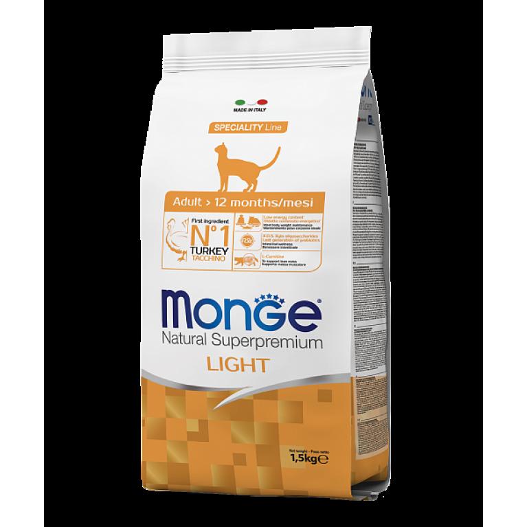 Monge Cat Speciality Line Light низкокалорийный корм для кошек с индейкой 1,5 кг