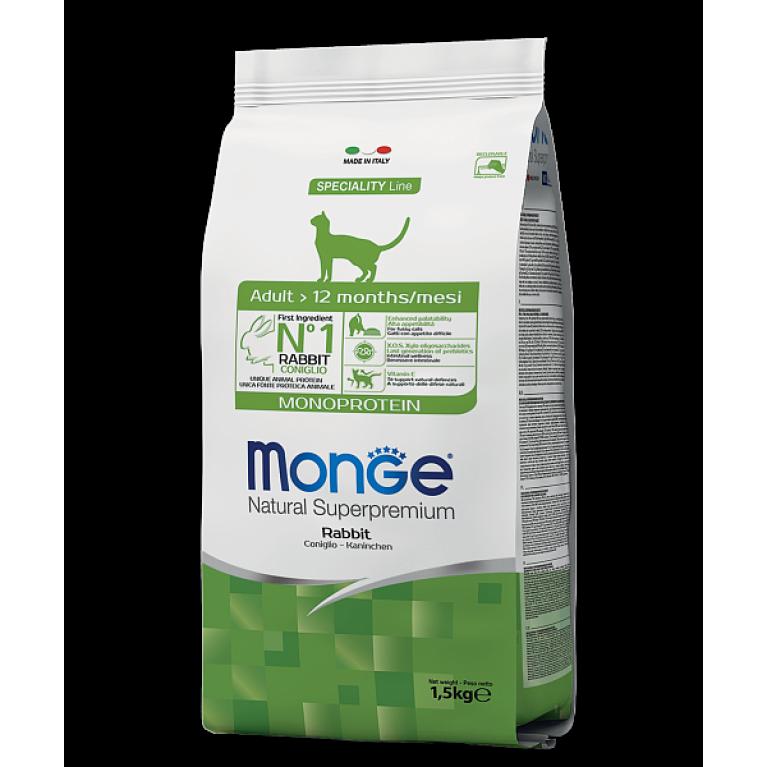 Monge Cat Speciality Line Adult Rabbit корм для взрослых кошек с кроликом 1,5 кг