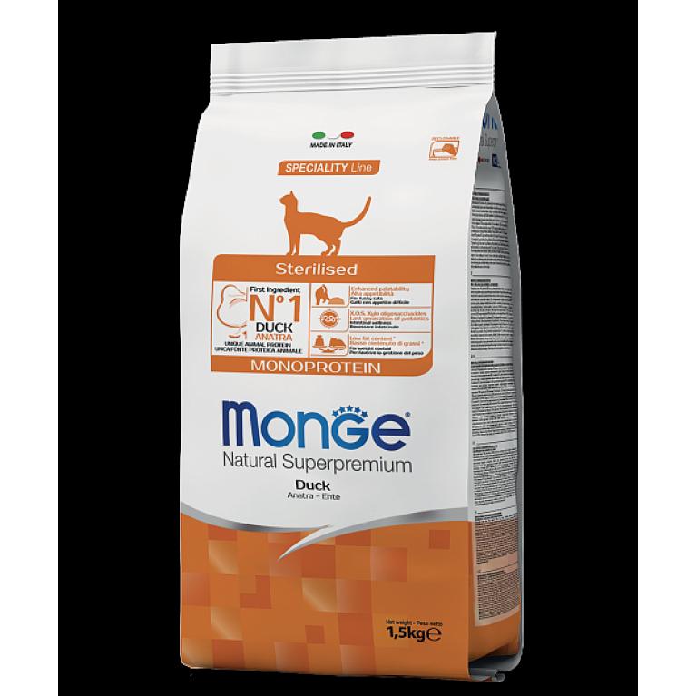 Monge Cat Speciality Line Sterilised Duck корм для стерилизованных кошек с уткой 1,5 кг