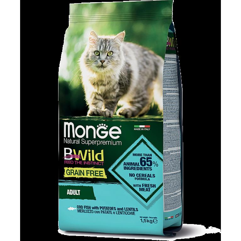Monge Cat BWild GRAIN FREE беззерновой корм для взрослых кошек из трески 1,5 кг