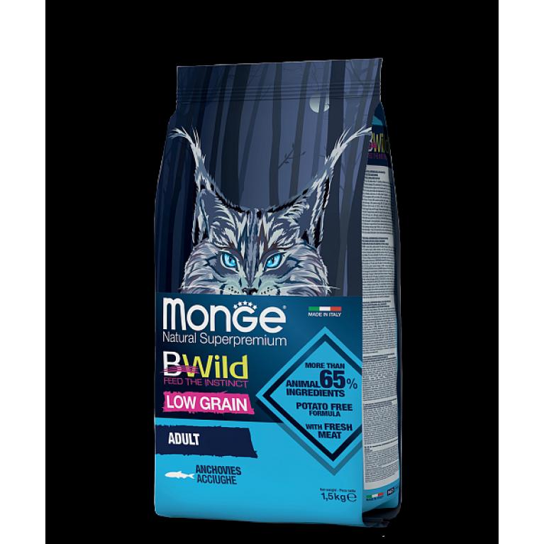 Monge Cat BWild LOW GRAIN низкозерновой корм для взрослых кошек  из анчоуса 1,5 кг