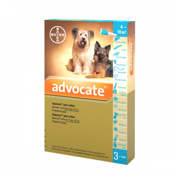 Advocate Адвокат для собак (3 пипетки) 4-10 кг