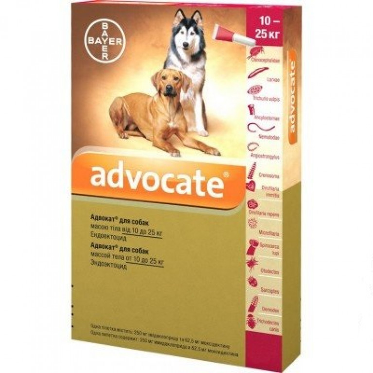 Advocate Адвокат для собак (1 пипетка) 10-25 кг