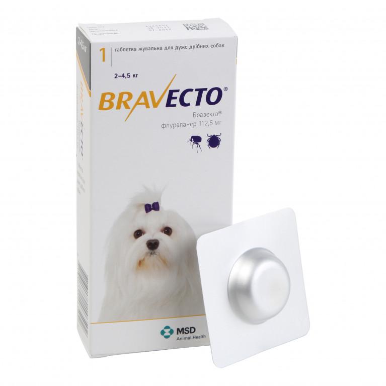 Bravecto Бравекто жевательная таблетка от блох и клещей для собак весом от 2 до 4,5 кг. - 112,5 мг