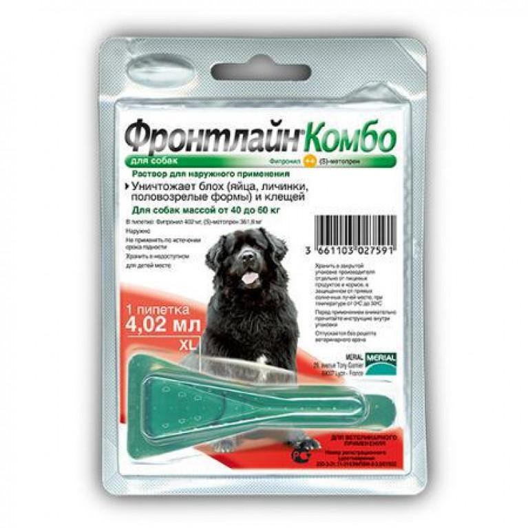 Frontline Combo Фронтлайн Комбо капли на холку для собак более 40 кг (1пип-4,02мл)