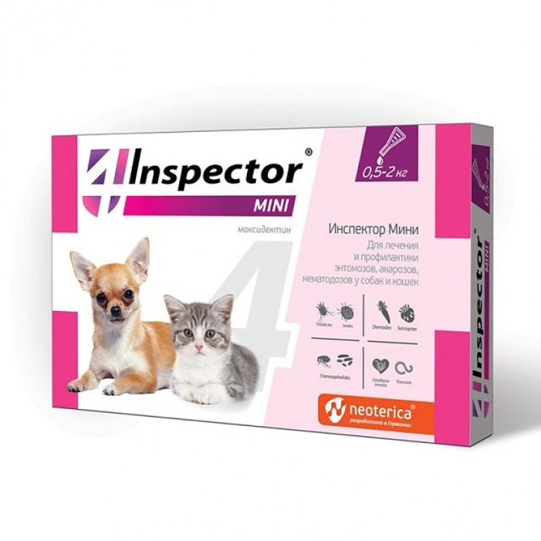 Inspector MINI Инспектор капли на холку  для кошек и собак весом 0,5-2 кг (1 пипетка)
