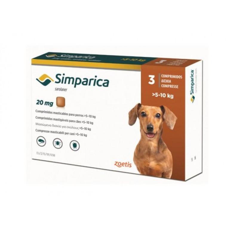 Simparika Симпарика от блох и клещей для собак 5 - 10 кг, таблетки 20 мг. - 3 шт.