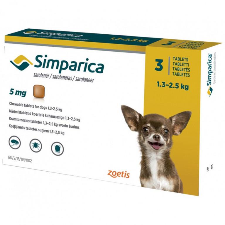 Simparika Симпарика от блох и клещей для собак 1,3-2,5 кг, таблетки 5 мг. - 3 шт.