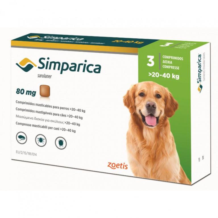 Simparika Симпарика от блох и клещей для собак 20-40 кг, таблетки 80 мг. - 3 шт.