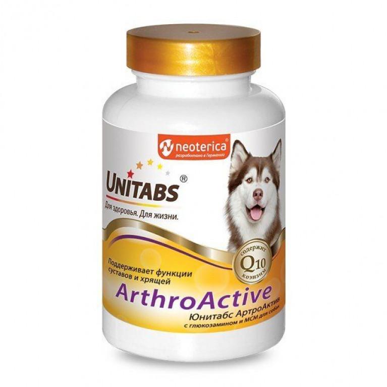 Unitabs Arthro Active Юнитабс Артро Актив  глюкозамин +МСМ для собак 100таб