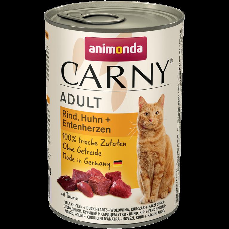 Animonda Adult Carny - консервы для взрослых кошек с говядиной, курицей и сердцем утки 400 гр