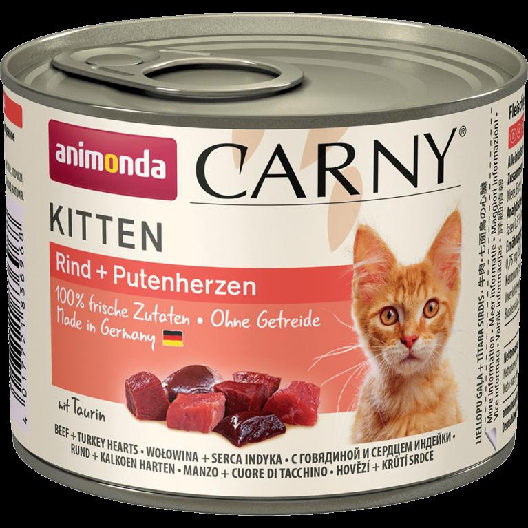 Animonda Carny Kitten Консервы для котят говядина и сердце индейки 200 г