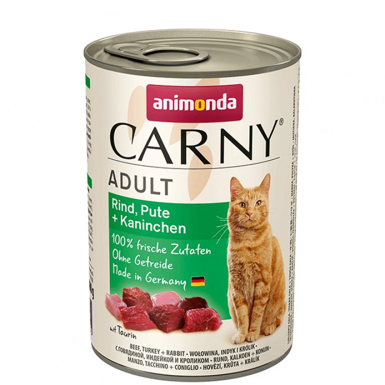 Animonda Carny Adult консервы для взрослых кошек говядина индейка и кролик 400г