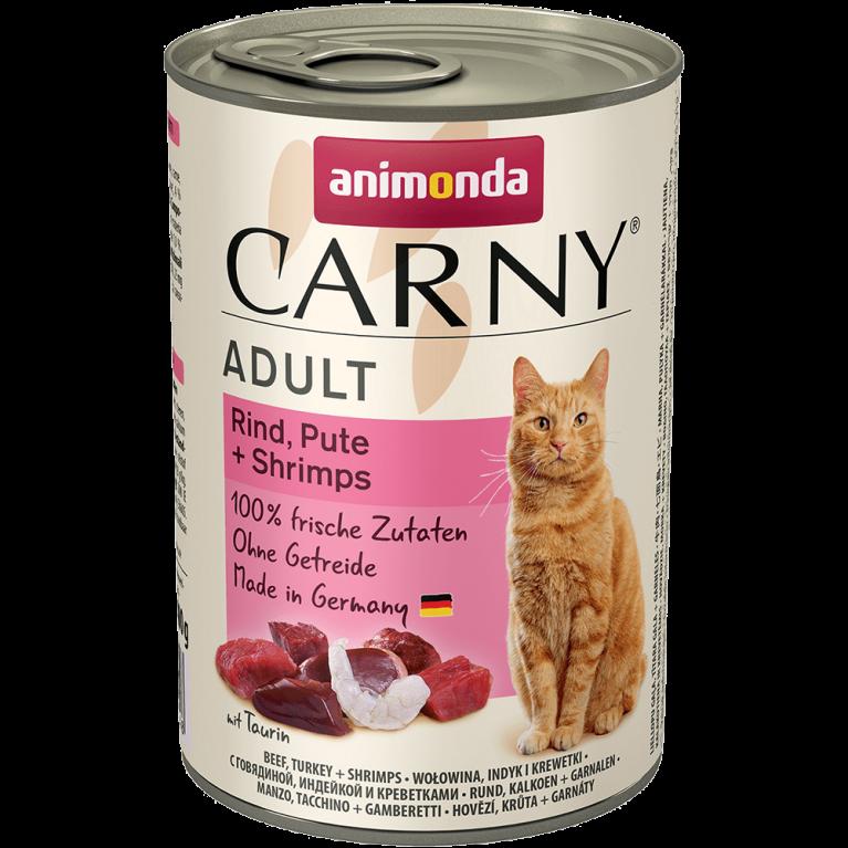 Animonda CARNY Adult консервы для взрослых кошек с говядиной индейкой и креветкой 400г