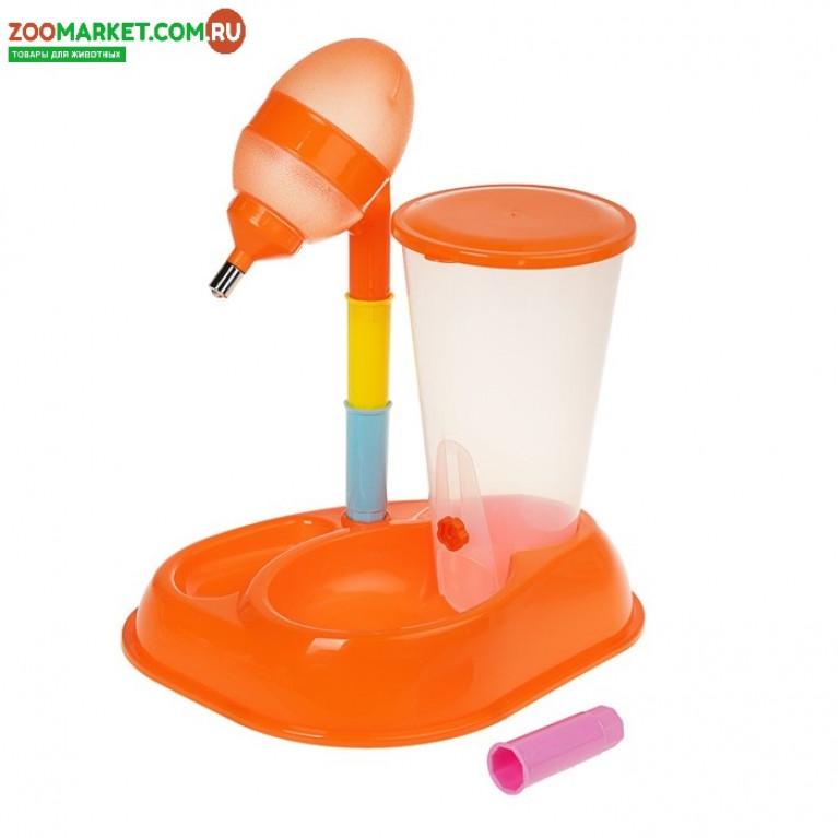 Комплекс для кормления: контейнер для корма 2,5 л, миска, поилка 600 мл, оранжевый